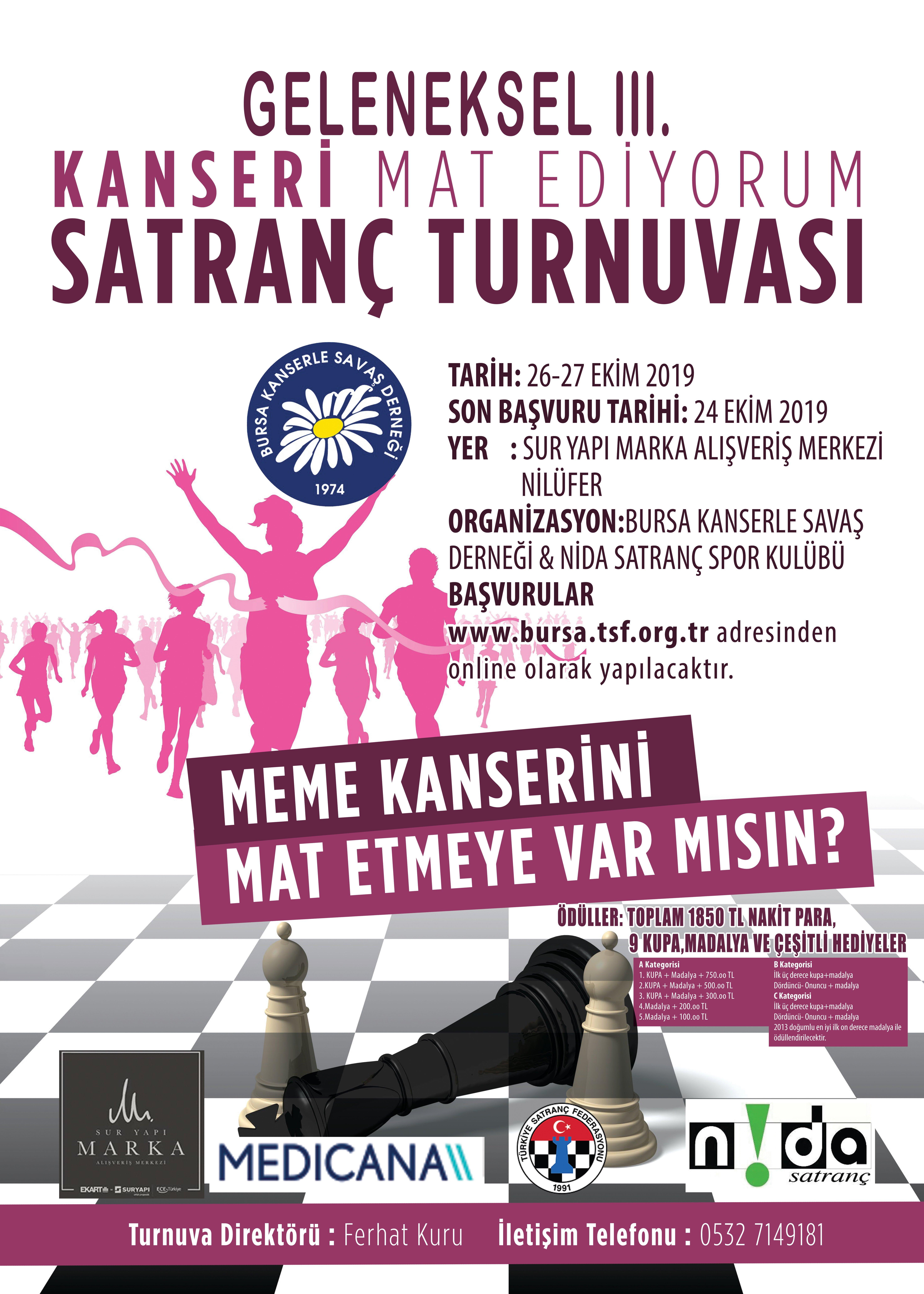 Geleneksel 3'üncü Kanseri Mat Ediyorum Satranç Turnuvası başlıyor