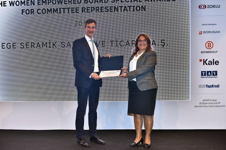 """""""2019 Kadınlarla Güçlendirilmiş Yönetim Kurulu"""" Ödülünü Ege Seramik Aldı."""
