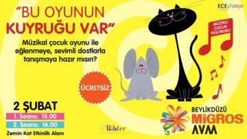 """""""Bu Oyunun Kuyruğu Var"""" Tiyatro Oyunu Beylikdüzü Migros AVM'de Çocuklarla Buluşuyor."""